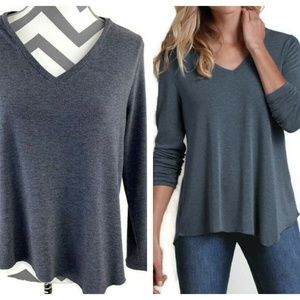 Soft Surroundings V Neck Asymmetrical Hem Sweater